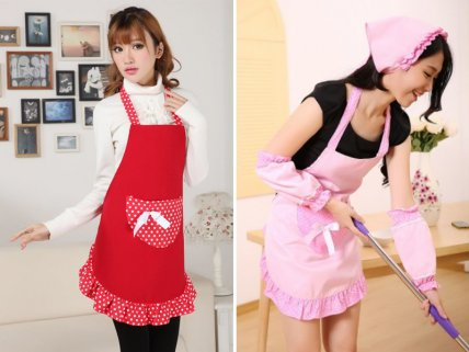 Retro Cooking Apron with Pocket