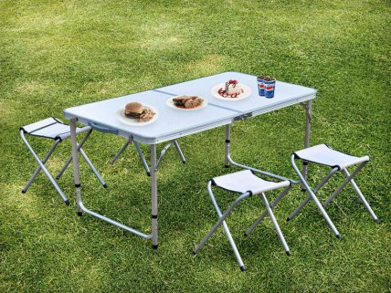Foldable Aluminium Picnic Table with Chairs