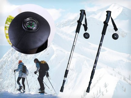 Anti-Shock Hiking Stick with Compass