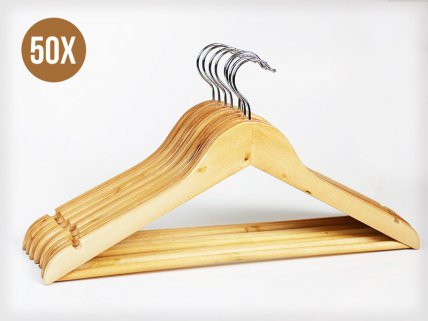 50 x Natural Wooden Clothes Hangers