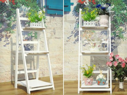 3-Step Wooden Storage Display Ladder