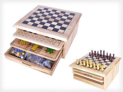 10-in-1 Wooden Classic Game Board Slide-Out Set