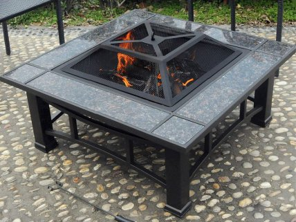 Ceramic Tile Firepit with Grill
