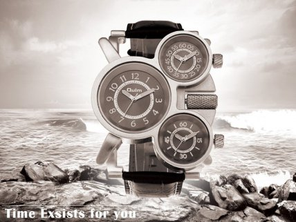 Multi Time-Zone Stainless Steel Quartz Wrist Watch