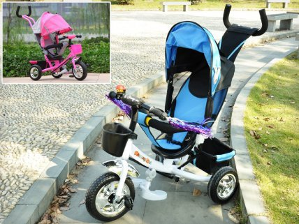 Kids Tricycle Pram with Parent Control