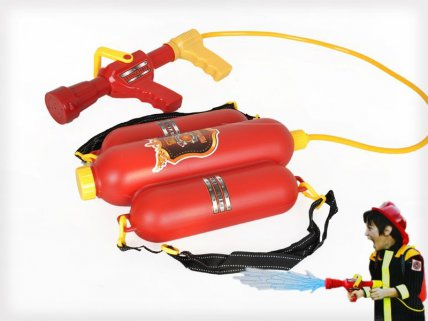 Kids Firefighter Water Backpack with Squirt Gun