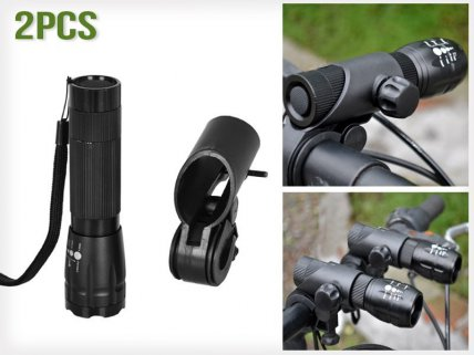 240 Lumens Q5 Bicycle Torch with Holder - 2pk