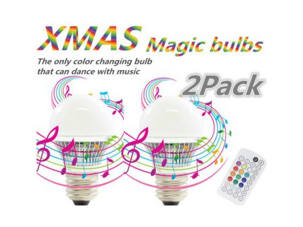 2 Pack of 4W LED Disco Bulbs with Remote