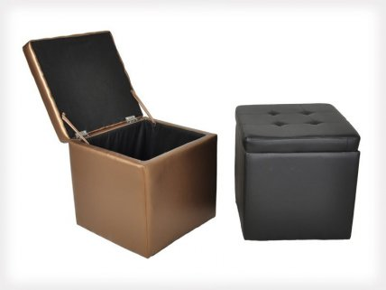 PU Leather Extra Storage Foot Stool
