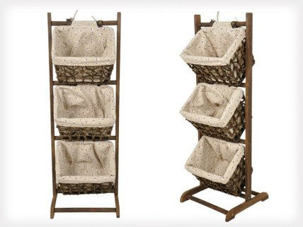Vintage Wooden Storage Rack With 3 Baskets