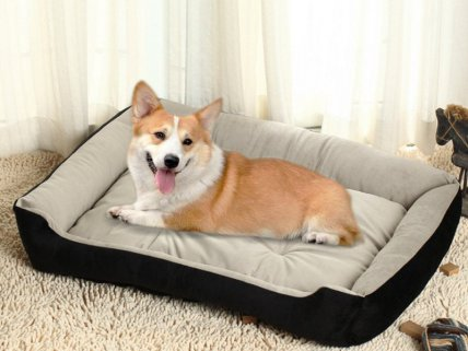 Pet Soft Fleece Bed with Mattress - Large