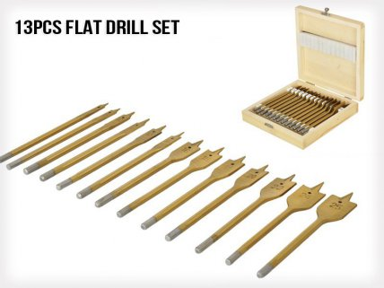13pcs Flat Drill Set with Wooden Box