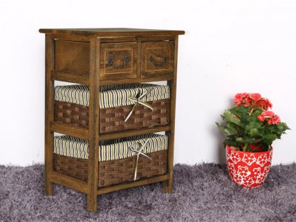 Country-Style 3 Layers Bedside Table