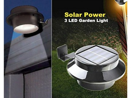 3-LED SUPER-BRIGHT Solar Gutter Light- 2 PACK