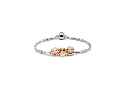 Emoji Charm Bracelet - 3 Charms with Gift Pouch