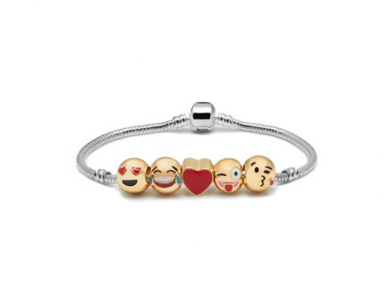 Emoji Charm Bracelet - 5 Charms with Gift Pouch