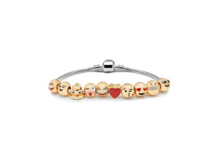 Emoji Charm Bracelet - 10 Charms with Gift Pouch