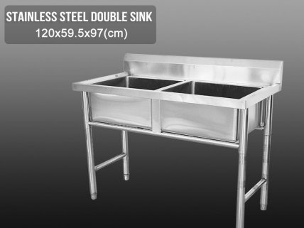 Standalone Stainless Steel Kitchen Sink - Double