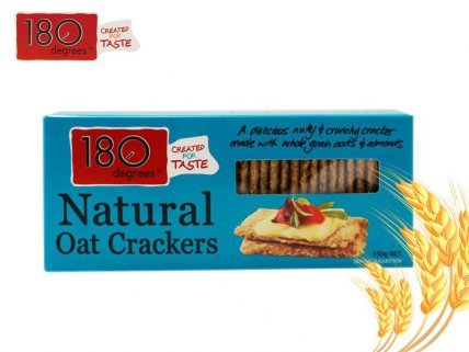 180 Degrees Natural Oat Crackers - 150g 4pk
