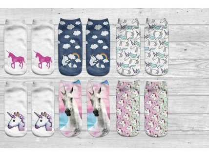 6 Pairs of Assorted Unicorn Socks