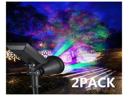 LED Color Rotating Solar Spotlight - 2 Pack