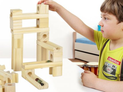 Deluxe Wooden Marble Run Toy - 60 Pieces