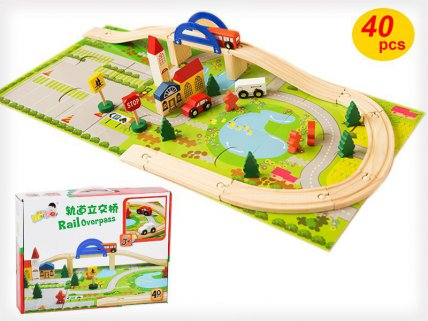 Rail Overpass Track Toy  40pc