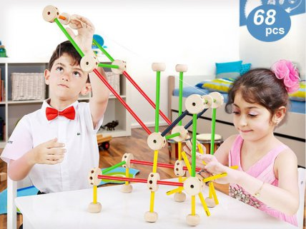 Wooden Tinkertoy Construction Set