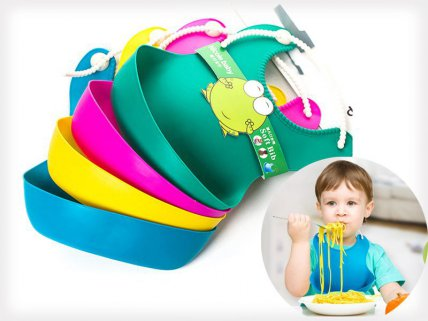 Silicone Roll Up Baby Soft Bib 4 Pack