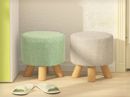 Wooden Round Footstool - 2pc