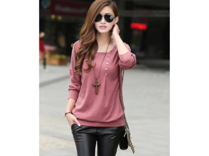Long-Sleeve Batwing Top
