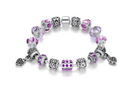 Stirling Silver Murano Glass Charm Bracelet