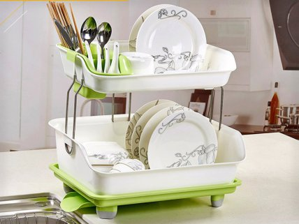 2 Level Dish Rack with Drip Tray