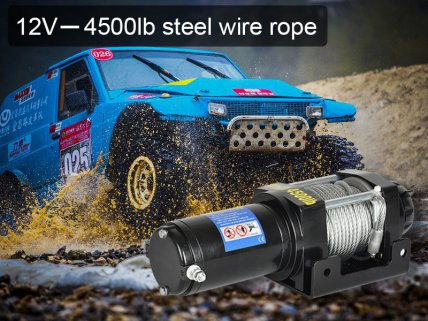 12V Electric Winch W/ Remote - 4500lb Steel Wire