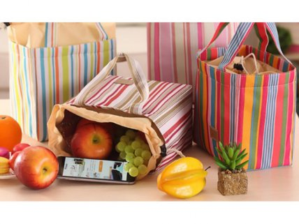 Vertical Striped Thermal Lunch Baskets Bags