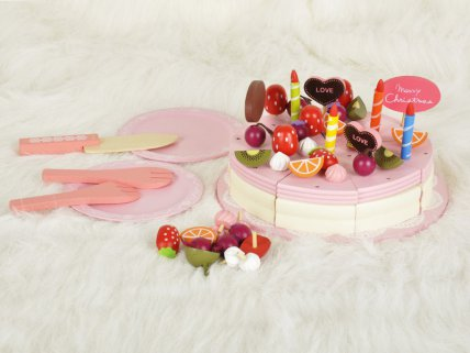 Wooden Strawberry Cake Toy Set