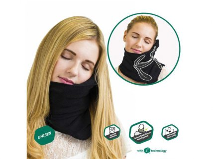 Soft Neck Support Travel Pillow--Black
