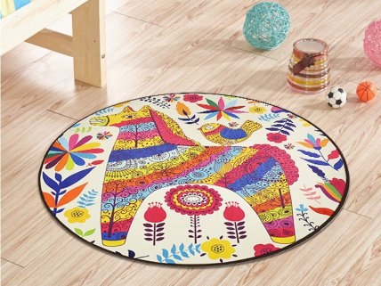 1m Round Kids Carpet Mat- Horses