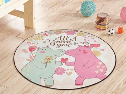 1m Round Kids Carpet Mat- Hippos