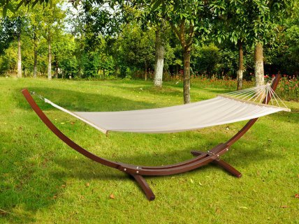 Outdoor Hammock with Arc Wooden Stand