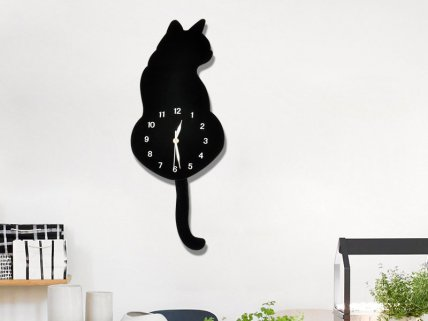 Creative Moving Tail Cat Wall Clock