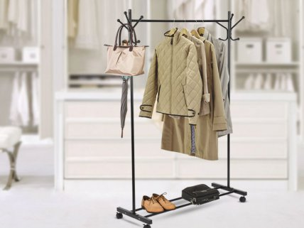 Rolling Standing Clothes/ Hats Rack with Wheels
