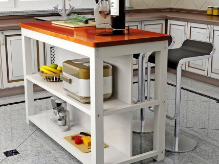 Wooden Kitchen Table with Storage- White & Amber