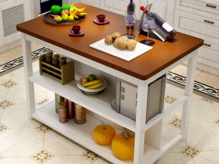 Wooden Kitchen Table with Storage-White & Walnut