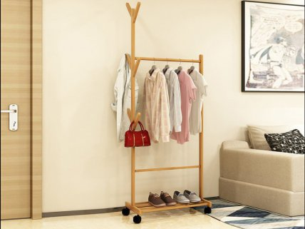 Wooden Clothes Rack with Hat Hanger