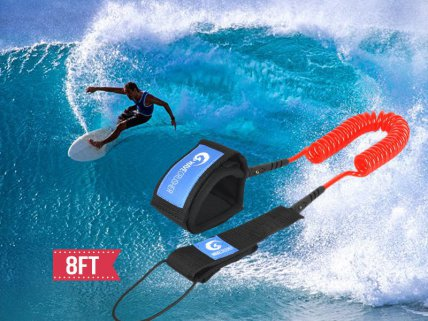 Surfboard SUP Board Leash 8ft 7mm (Coiled)