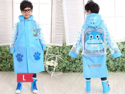 Kids Raincoat Blue - L