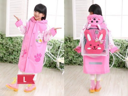 Kids Raincoat Pink- L