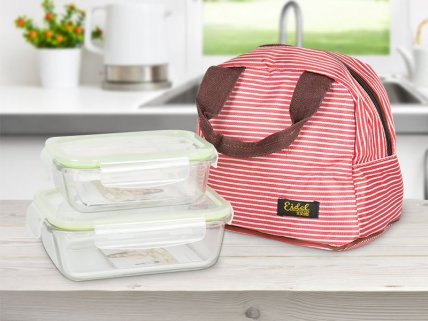 Glass Lunch Box with Carry Bag