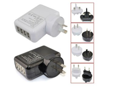 4 Port USB Wall AC Charger- White